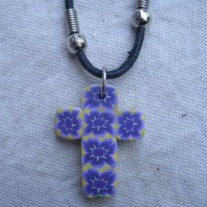 vintage Fimo Flower Cross Pendant Necklace